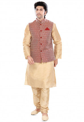 Embroidered Jacket and Art Silk Kurta Set in Beige and Red