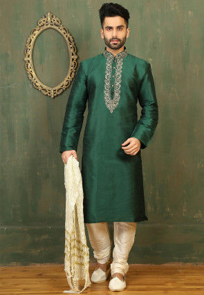 Plain Dupion Silk Kurta Set in Green