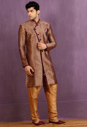 Woven Brocade Silk Sherwani in Golden