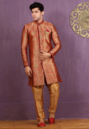 Woven Brocade Silk Sherwani in Red