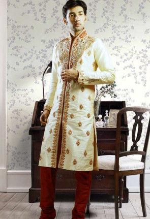 Embroidered Dupion Silk Kurta Churidar in Cream