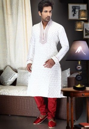 Embroidered Dupion Silk Kurta Churidar in Off White