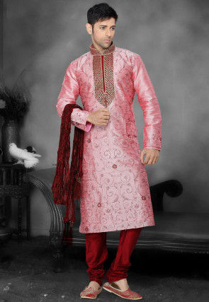 Embroidered Dupion Silk Kurta Churidar in Pink