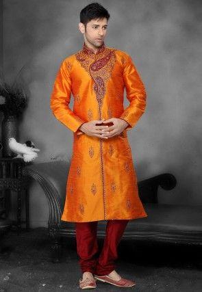 Embroidered Dupion Silk Kurta Churidar in Orange