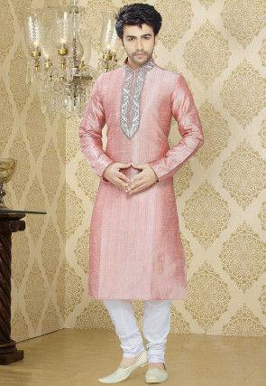 Embroidered Art Silk Kurta Churidar in Baby Pink