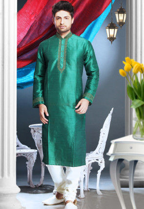 Embroidered Art Silk Kurta Churidar in Green