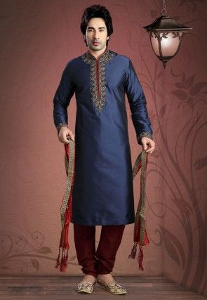 Embroidered Satin Kurta Churidar in Blue