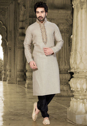 Embroidered Linen Kurta Set in Light Beige