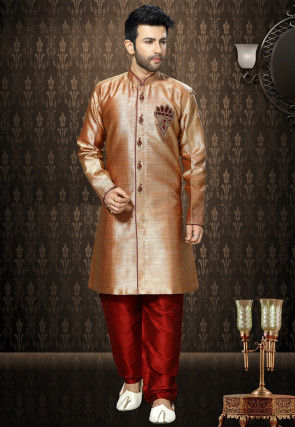 Plain Art Silk Sherwani in Peach