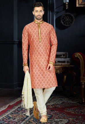Block Printed Dupion Silk Kurta Set in Peach