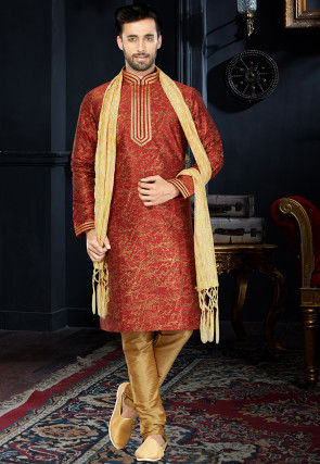 Printed Art Silk Kurta Set in Rust