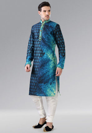 Printed Dupion Silk Kurta Set in Blue and Turquoise