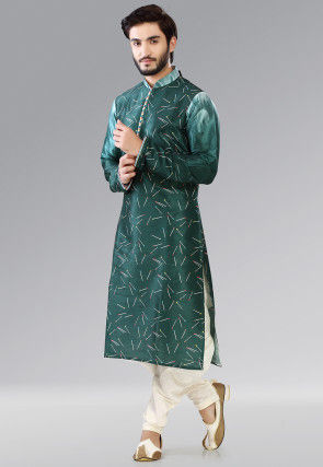 Printed Dupion Silk Dhoti Kurta in Dark Teal Green