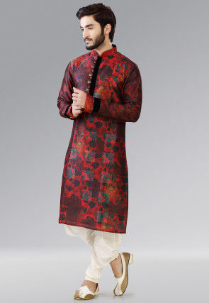 Printed Dupion Silk Dhoti Kurta in Red