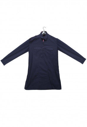 Plain Cotton Kurta in Dark Blue
