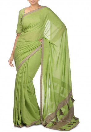 Muga Silk Contrast Bordered Saree in Light Green