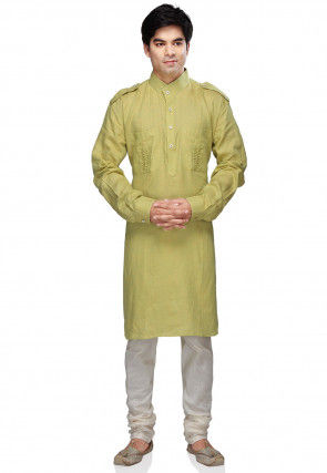 Plain Pure Linen Kurta Churidar in Olive Green