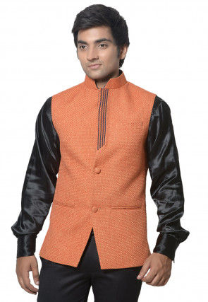 Plain Jute Cotton Nehru jacket in Orange