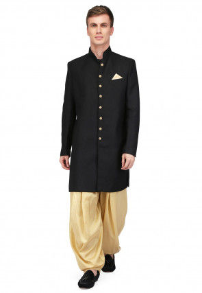 Plain Art Silk Jodhpuri Suit in Black