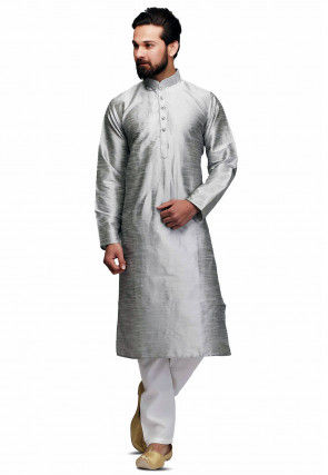 Plain Raw silk Kurta Set in Silver