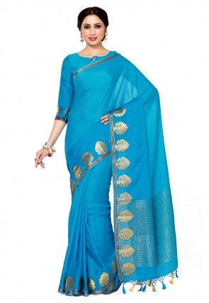 Mysore Crepe Saree in Blue