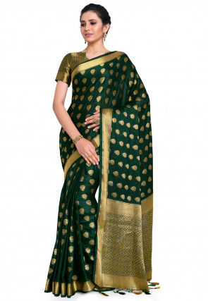 Mysore Crepe Saree in Dark Green