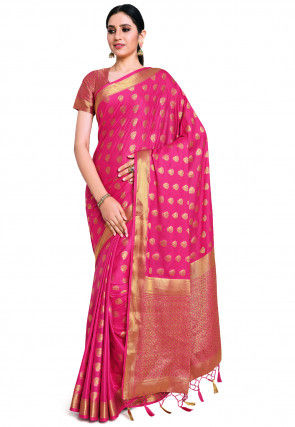 Mysore Crepe Saree in Fuchsia