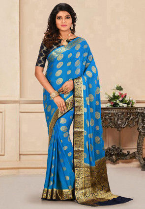 Mysore Crepe Silk Saree in Blue