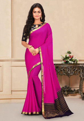 Mysore Crepe Silk Saree in Fuchsia