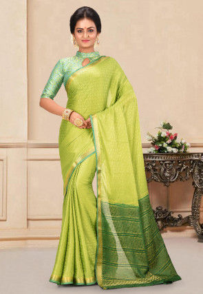 Mysore Crepe Silk Saree in Light Green