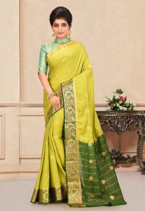 Mysore Crepe Silk Saree in Light Olive Green
