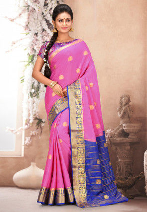 Mysore Crepe Silk Saree in Pink