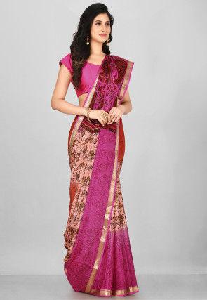 Mysore Pure Crepe Silk Saree in Multicolor
