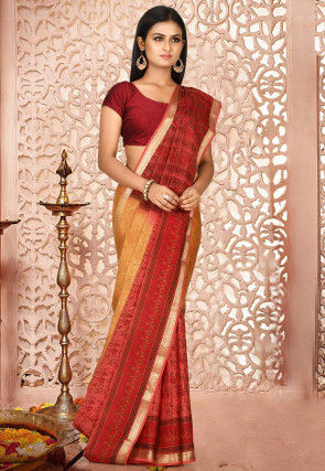 Mysore Pure Crepe Silk Saree in Shaded Mustard and Coral Red
