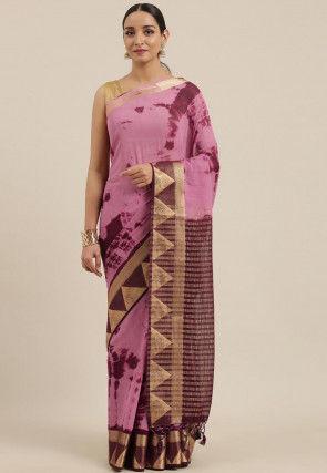 Mysore Silk Tie N Dye Chiffon Saree in Pink