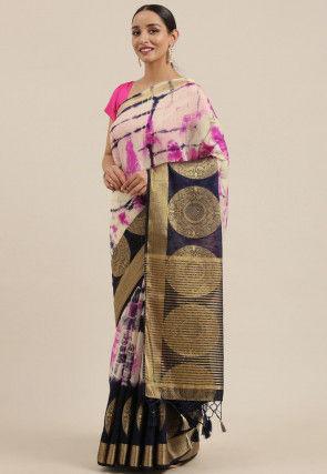 Mysore Tie N Dye Linen Silk Saree in Off White