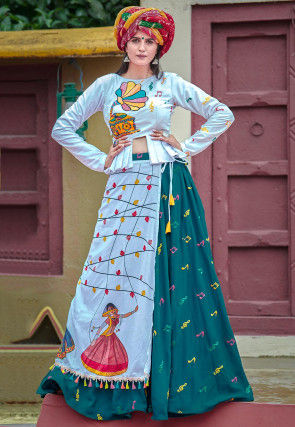 Navarati Special Cotton Top with Skirt in Off White and Teal Blue