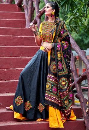 Navaratri Special Cotton Lehenga in Black and Yellow