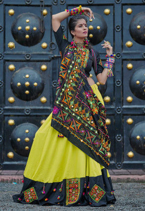 Navaratri Special Cotton Lehenga in Light Olive Green