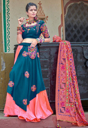 Navaratri Special Cotton Lehenga in Teal Blue and Pink