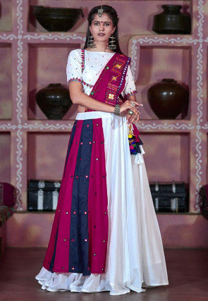 Navaratri Special Cotton Lehenga in White and Magenta