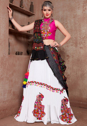 Navratri Special Embroidered Cotton Lehenga in Off White