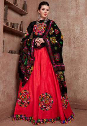 Navratri Special Embroidered Cotton Lehenga in Red
