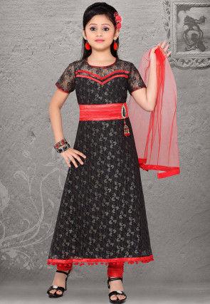 Net Salwar Set in Black