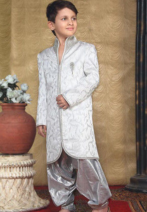 Off White Jacquard Readymade Indo Western Suit