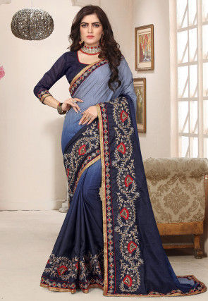 Ombre Art Silk Saree in Blue
