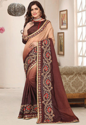 Ombre Art Silk Saree in Brown and Beige