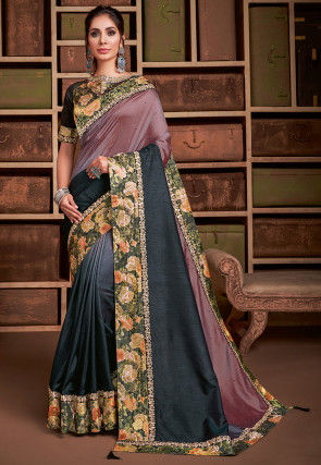 Ombre Art Silk Saree in Dusty Pink and Grey