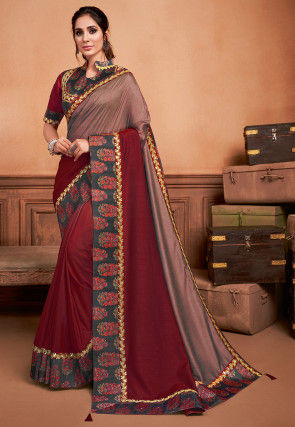 Ombre Art Silk Saree in Maroon and Dusty Peach