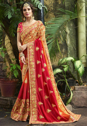 Ombre Chiffon Saree in Maroon and Orange